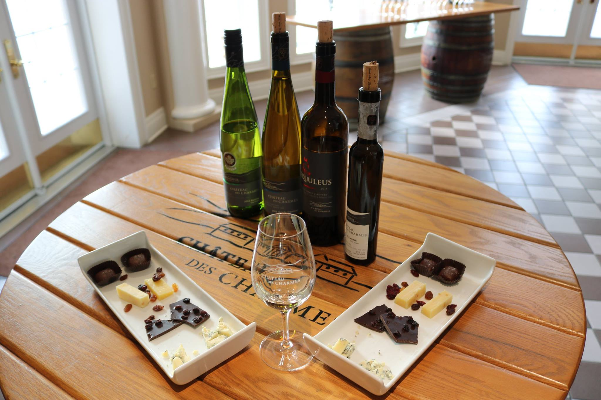 Rent a charter bus to get to Château des Charmes, and enjoy a sweet and salty smorgasbord, perfectly paired with their wine selection.