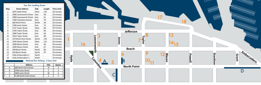 Where to park your charter bus rental at Pier 39 and Fisherman's Wharf, San Francisco.