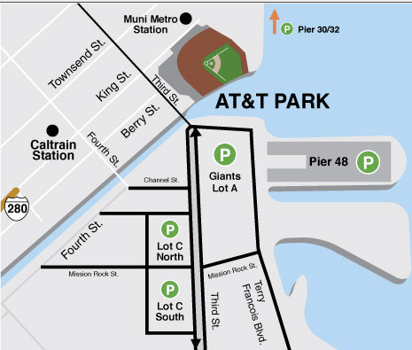 Where to park your charter bus rental at AT&T Park San Francisco.