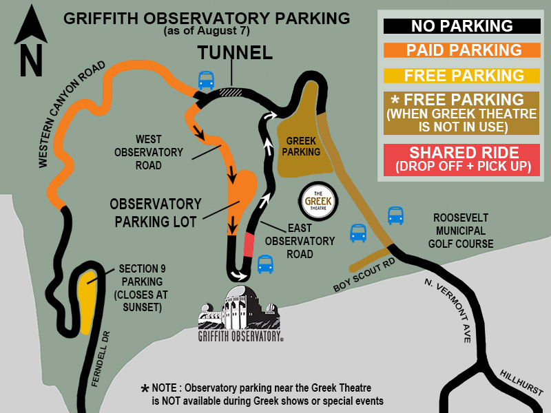 Where to park your charter bus rental at the Griffith Observatory Los Angeles.