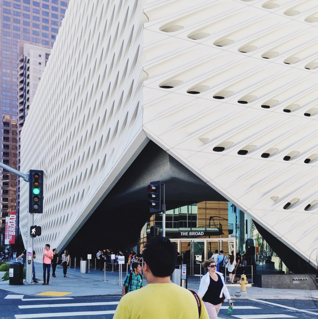 Where to park your charter bus rental at The Broad, Los Angeles.