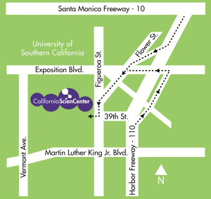 Where to park your charter bus rental at the California Science Center, Los Angeles.