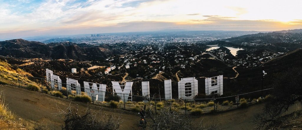 Rent a charter tour bus to the Hollywood Sign