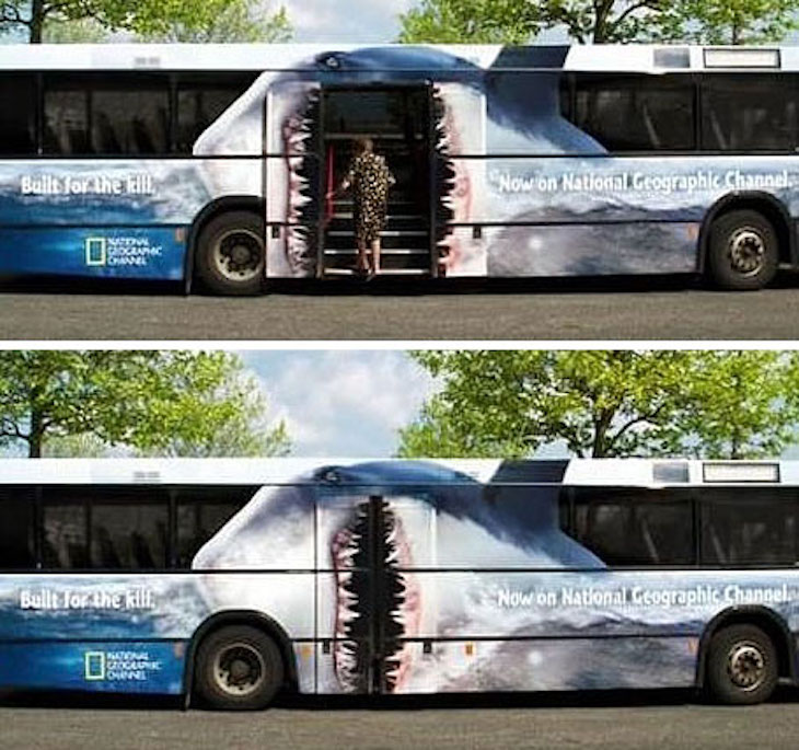 Use National Geographic's shark bus wrap as inspiration for your own bus wrap.