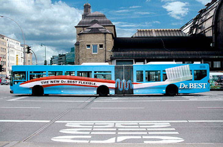 Use Dr. Best's toothbrush bus wrap ad to inspire your own bus wrap.