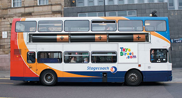 Let your imagination run wild with this bus wrap ad.