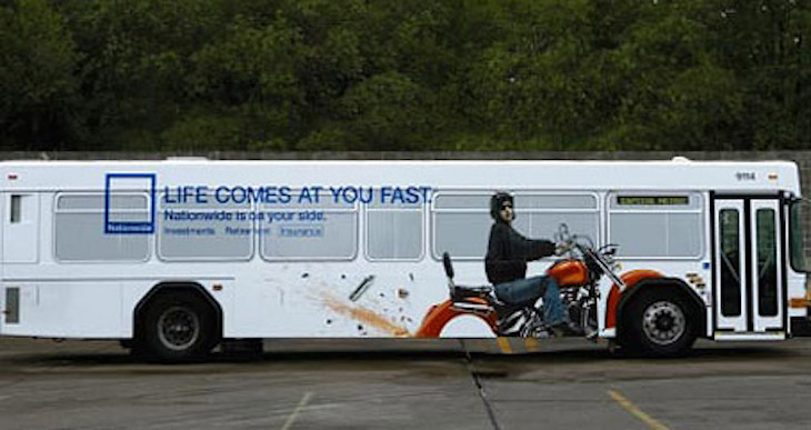 Nationwide's creative motorcycle bus wrap will inspire you in your own bus wrap design.