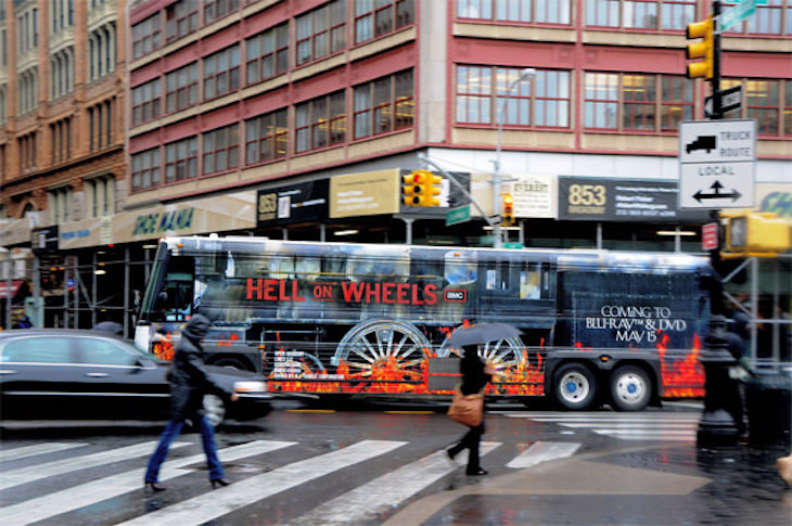 Hell on Wheels' creative bus wrap ad is a great source of inspiration for your own bus wrap.