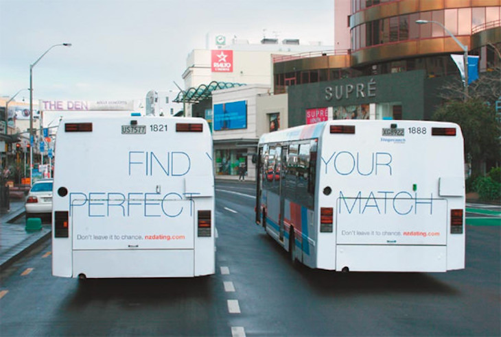 NZDating.com's cute bus wrap ad is very creative.