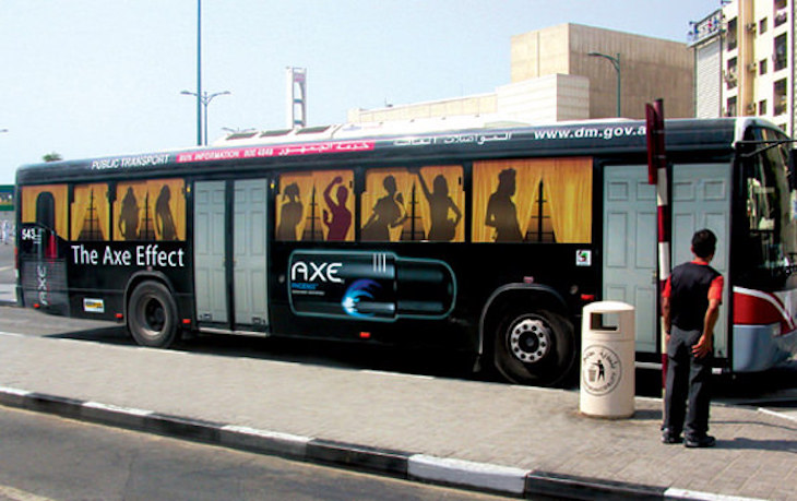 Axe Body Spray's bus wrap ad is a very creative approach to bus wrap ads.