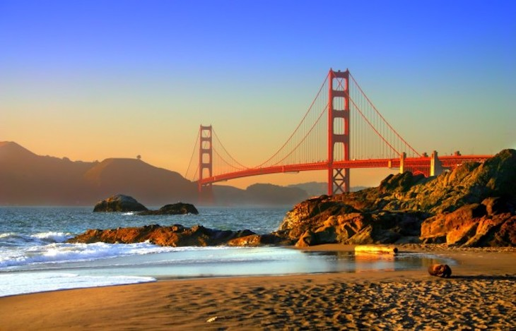 Rent a charter bus to Baker Beach, San Francisco.