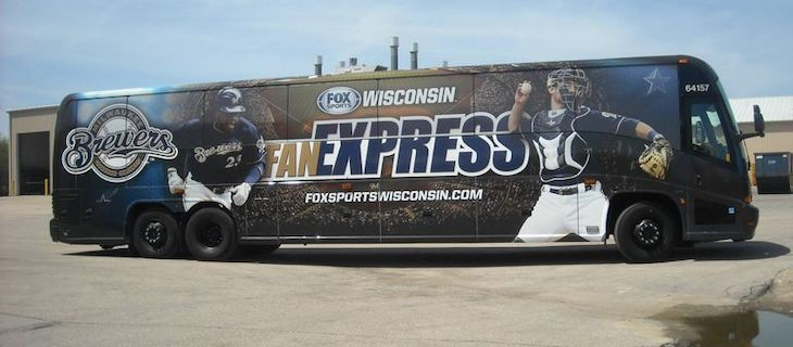 Customize your sports team's charter bus rental with a bus wrap.