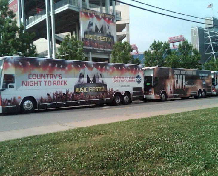 Customize your festival charter bus with a bus wrap.