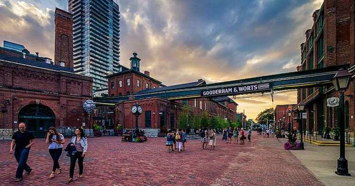Charter bus rentals to Toronto's Distillery District.