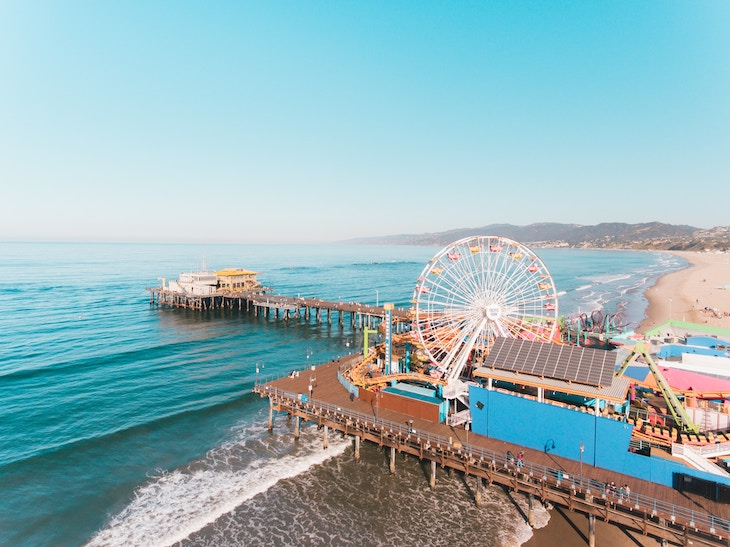 Rent a bus to Santa Monica Pier, Los Angeles.