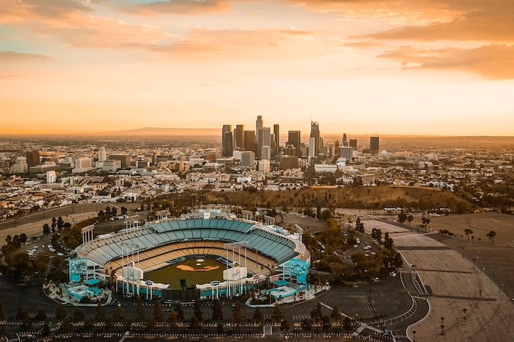 Charter bus rentals to Dodger Stadium, Los Angeles.