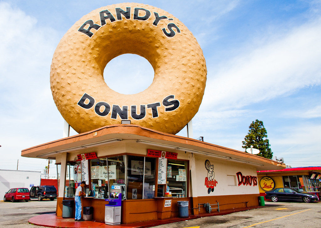 Rent a charter bus to Randy's Donuts, Los Angeles.