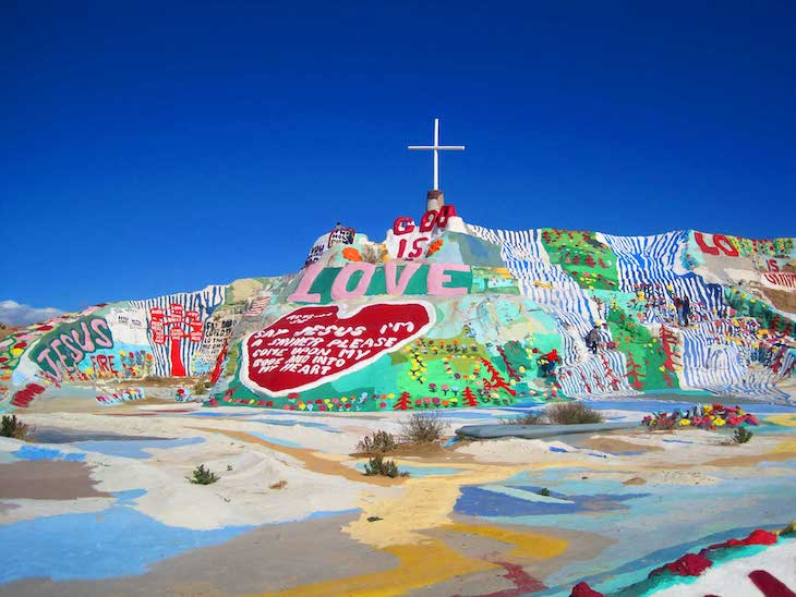 Rent a charter bus to Salvation Mountain, California.