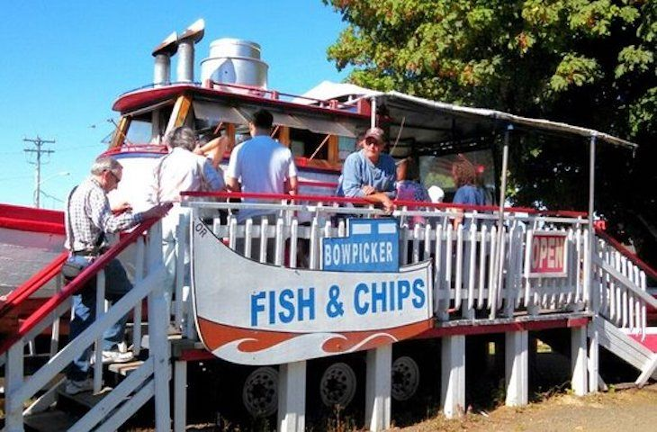 Charter bus rentals to Bowpicker and Chips.