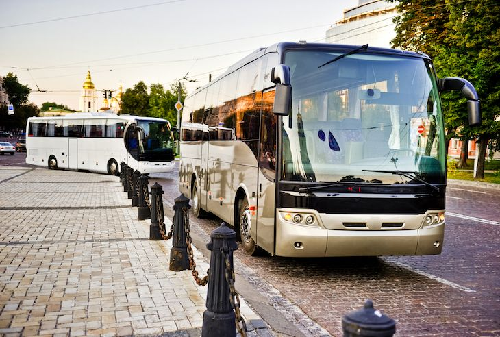 Charter bus rentals for student conference transportation.