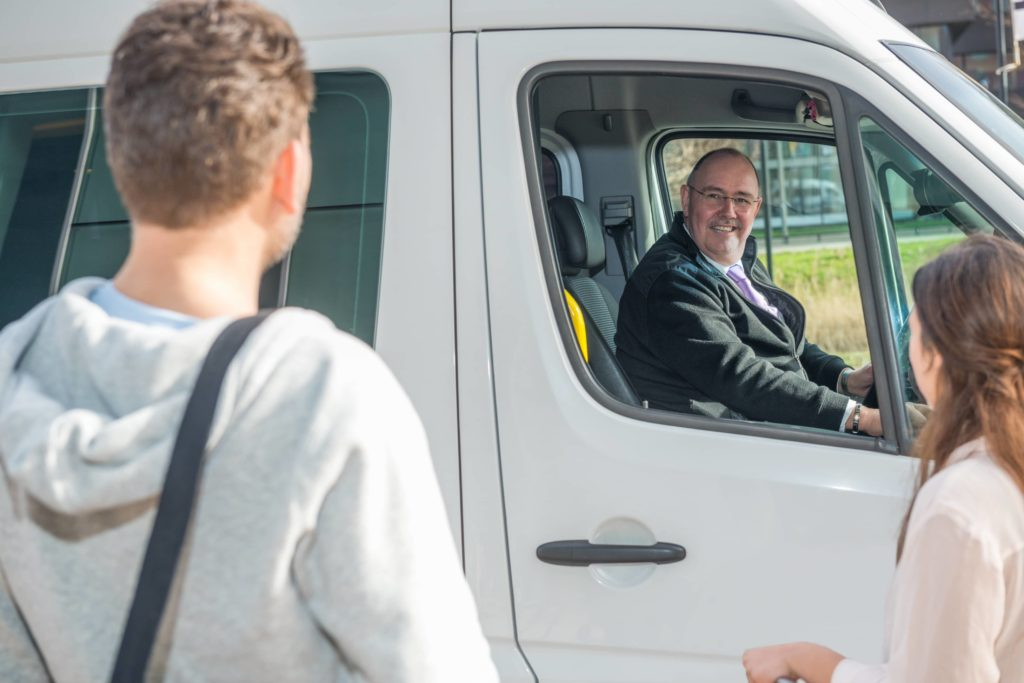 Our passenger van charter rentals include a professional driver.